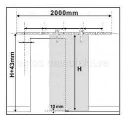 Posuvný systém na celosklenené dvere Glass 80,  pre dvojkrídlé dvere