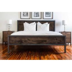 Industriálny kovová posteľ oceľ a drevo - Tavera