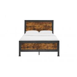 Industriálny kovová posteľ oceľ a drevo - Worty