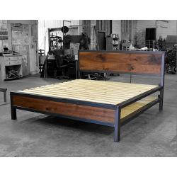Industriálny kovová posteľ oceľ a drevo - Rita