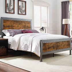 Industriálny kovová posteľ oceľ a drevo - Irina
